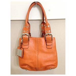 Leather Pumpkin Orange Tignanello Hobo Handbag